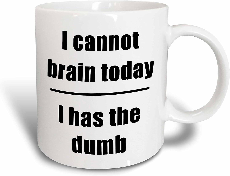 3dRose I Cannot Brain Today I Has The Dumb Mug, 11oz, Black/Blue