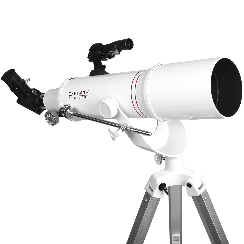 Explore Scientific fl-ar90500az Refractor Telescope W/AZマウント、90 mm、ホワイト B0743J26BP