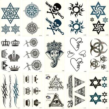KAMRL Tatuaje Falso Tatuaje 15 Unids Fake Temporal Impermeable ...