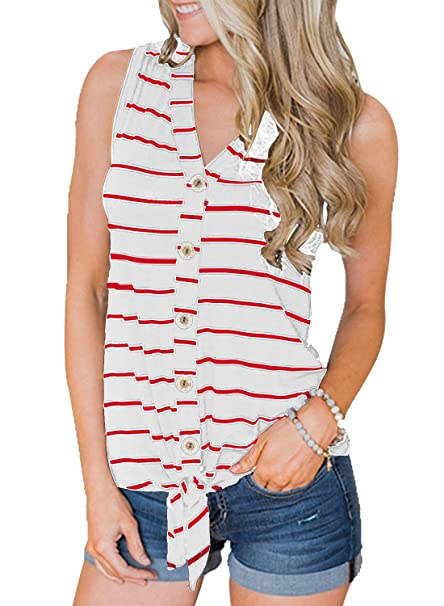 37f5fe6d151f82 MIHOLL Women's Summer Striped Shirt Sleeveless V Neck Button Down Tie Front  Casual Tank Tops at Amazon Women's Clothing store:
