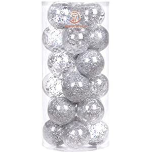 """Sea Team 70mm/2.76"""" Shatterproof Clear Plastic Christmas Ball Ornaments Decorative Xmas Balls Baubles Set with Stuffed Delicate Decorations (24 Counts, Silver)"""
