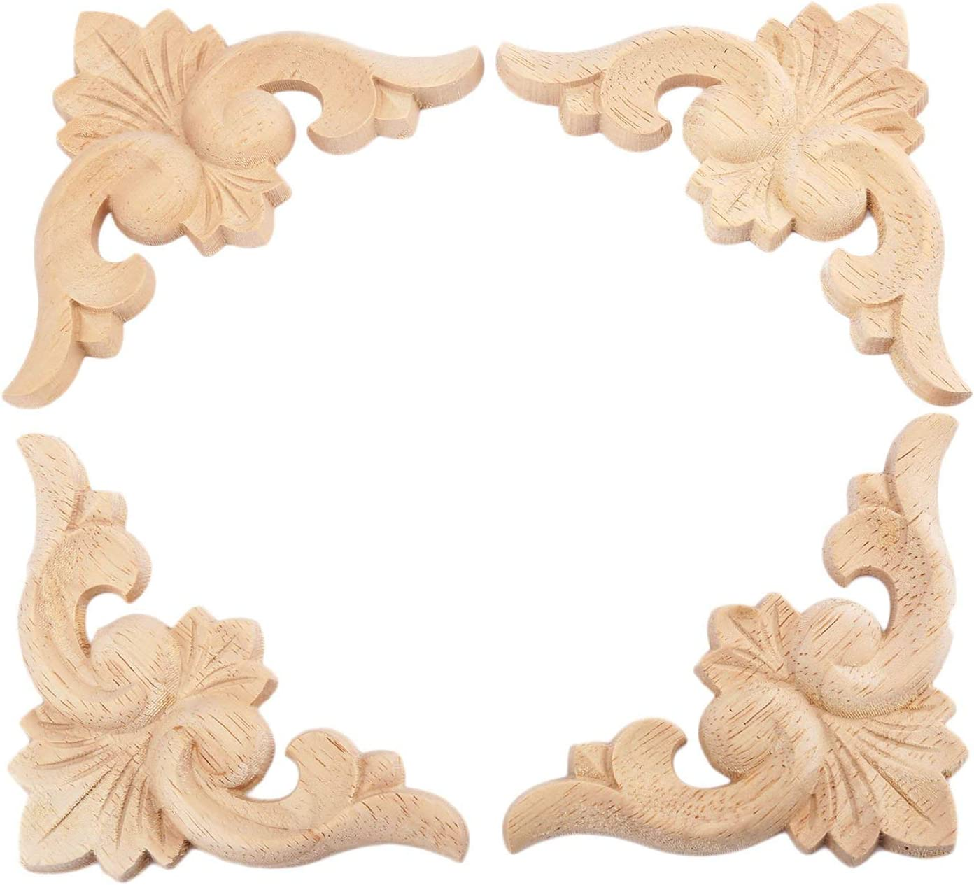 10-20cm Carved Wood Decal Applique Onlay Furniture Bookcase Cabinet Decor Round