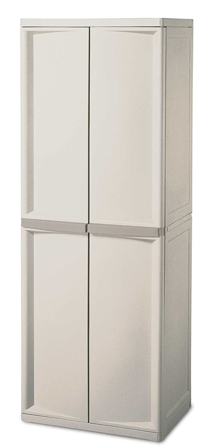Resin Utility Cabinet Amazoncom Sterilite 01428501 4 Shelf Cabinet With Putty Handles