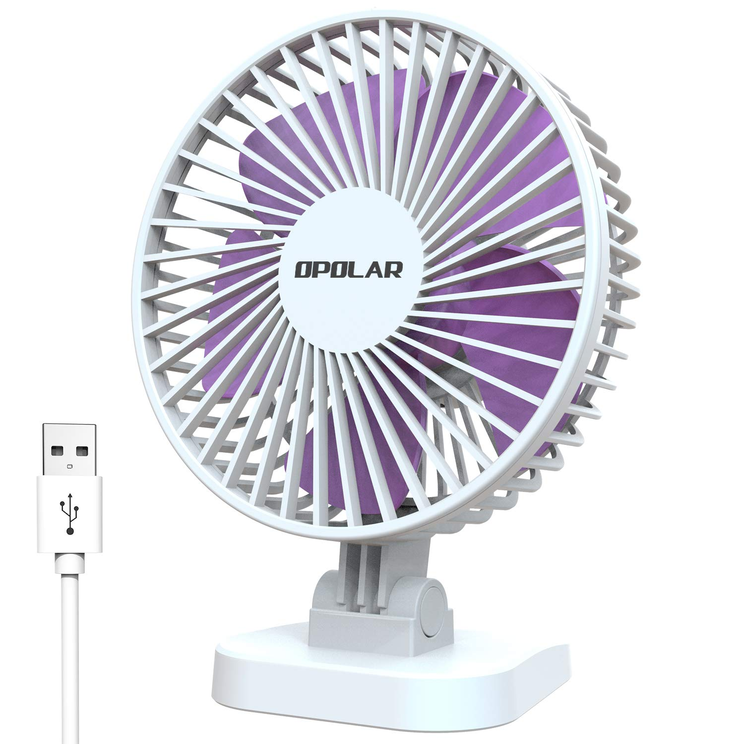 OPOLAR Small Desk Fan for Office Table, Cute but Mighty, 3 Speeds, USB Powered, 40 Adjustment, 2019 New Quiet Portable Personal Fan 4.9ft USB Plug