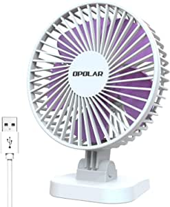 OPOLAR Small Desk Fan for Office Table, Cute but Mighty, 3 Speeds, USB Powered, 40° Adjustment, 2019 New Quiet Portable Personal Fan (4.9ft USB Plug)