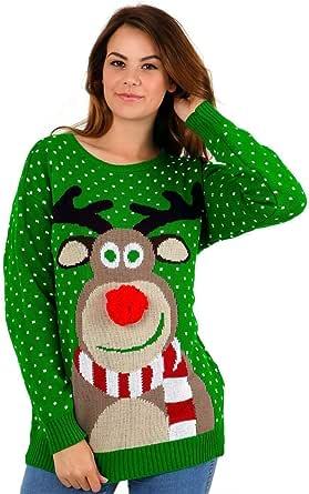 CelebLook Hombre Vintage Reno De Navidad Suéter Cuello Redondo suéter pulóver (Pom Pom Green, 44-46)