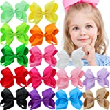 15Pcs 4.5 Inch Hair Bows For Girls Grosgrain Boutique Bows Alligator Clips For Teens Babies Toddlers Children Kids Teens Headbands