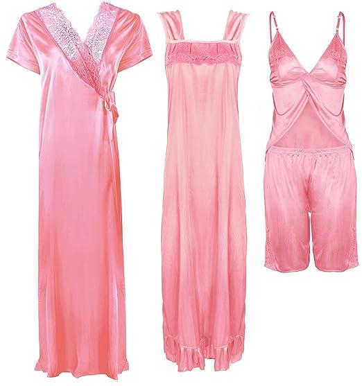 3195c7b76910 Ladies Satin LACE Long Nightdress Womens Nightie Pyjama Set Robe Set-Baby  Pink-One Size  Regular (8-14)  Amazon.co.uk  Clothing