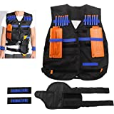 NUOLUX Tactical Vest per pistole Nerf N-strike Elite Series + 20pcs Hollow Bullets + 2 pezzi Bullet Case + 1pcs pistola Holder + 2pcs Bullet Wristbands