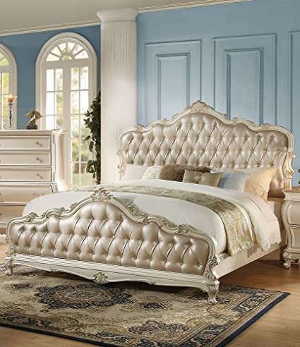 Awesome ACME Chantelle Rose Gold And Pearl White Eastern King Bed