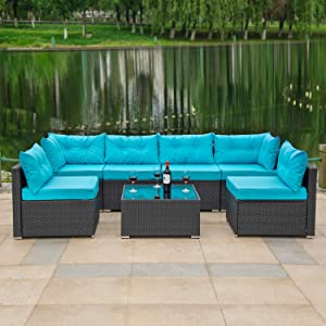 Amolife 7 Pieces Patio Set Rattan Sofa Set Outdoor Sectional Furniture Black Wicker Conversation Set with Blue Covers and Heavy Duty Steel Frame