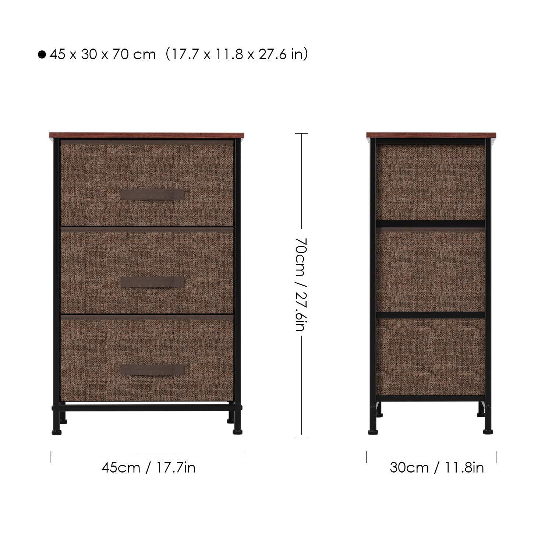 Homfa Cajonera Armario de Tela Mesita de Noche Organizador con 3 Cajones para Dormitorio salón Café 45x30x70cm