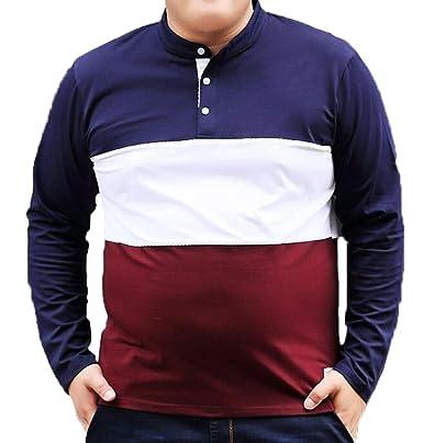 Herbstmänner Langärmeliger Kragen Bindung - Krawatte Großer Lose T-Shirt  Baumwollpullover,Blue-L 2f8042dff4