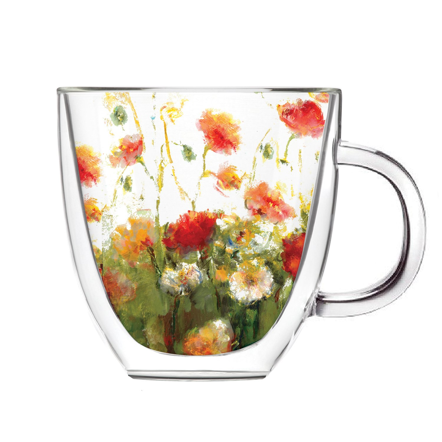 Cypress Home Fleurs Des Champs Glass Coffee Cup with Gift Box, 12 ounces