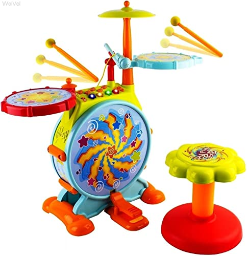 WolVol Electric Big Toy Drum Set for Kids with Movable Working Microphone to Sing and a Chair - Tons of Various Functions and Activity, Bass Drum and Pedal...