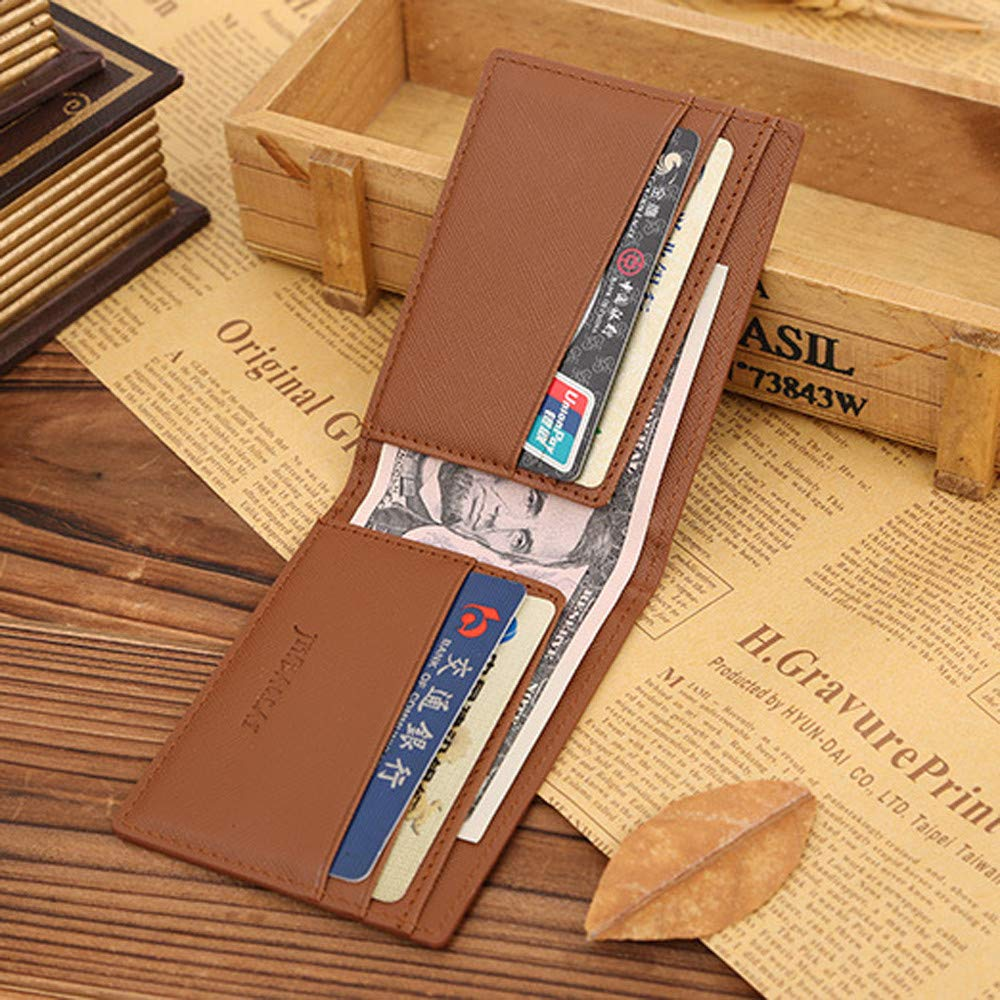 Slim Wallet Money Purse Money Clip Mens Wallet Men Leather Bifold Cards Holder Coffee