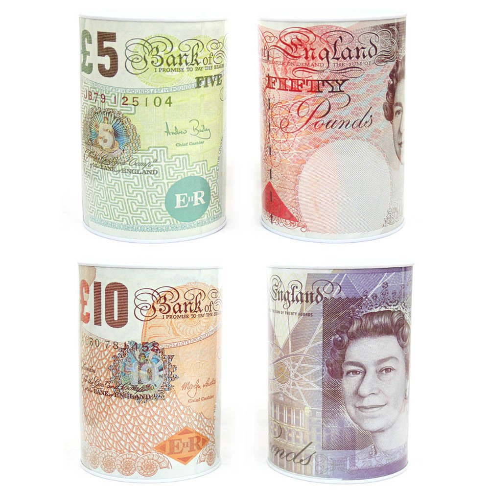 Bank Note Money Box Tin *Large* Open with Tin Opener NOVELTY Great Gift Carousel Home