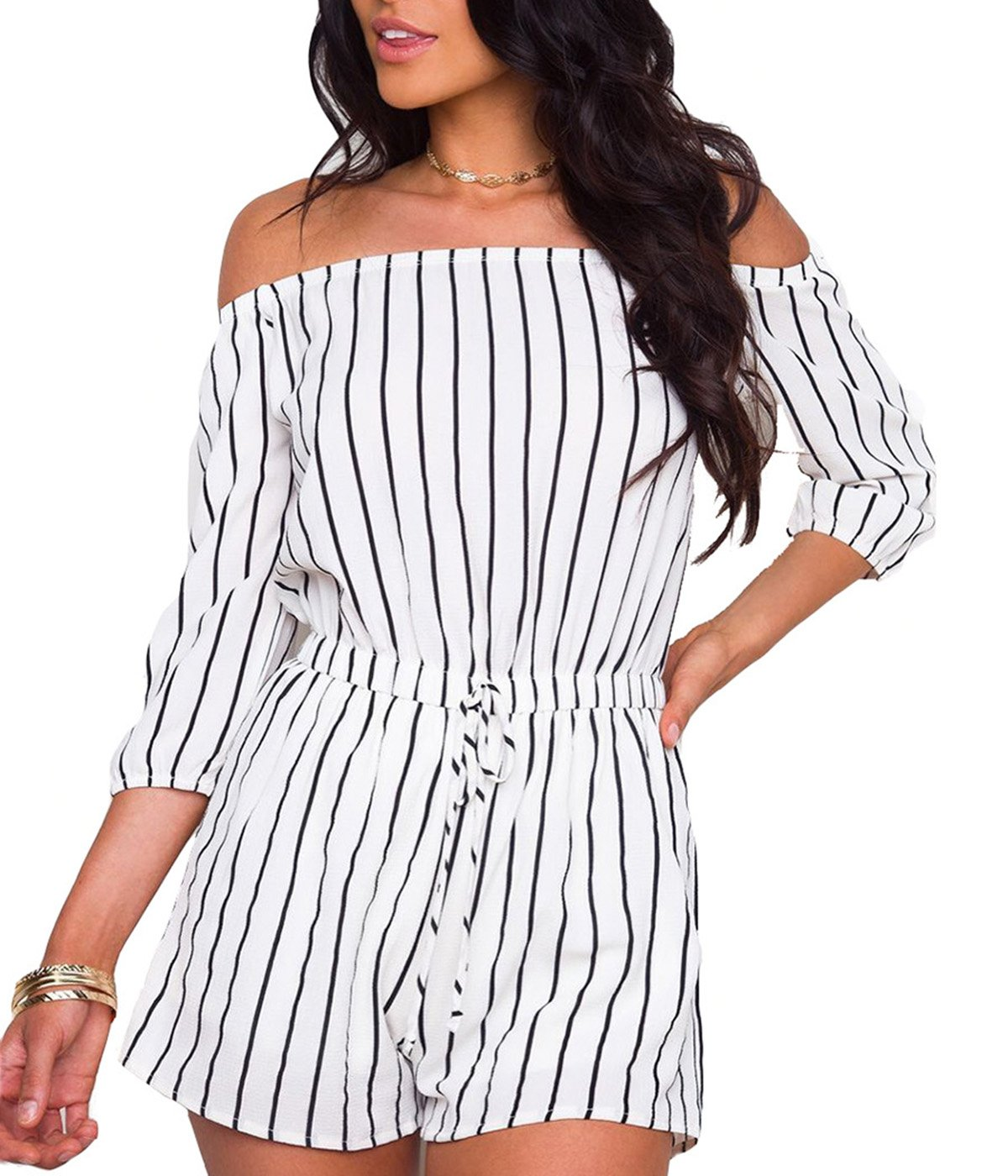 Tiaoqi Sexy Rompers for Women,Boat Neck Off The Shoulder Striped Rompers 3/4 Sleeves White Rompers (White, XL)