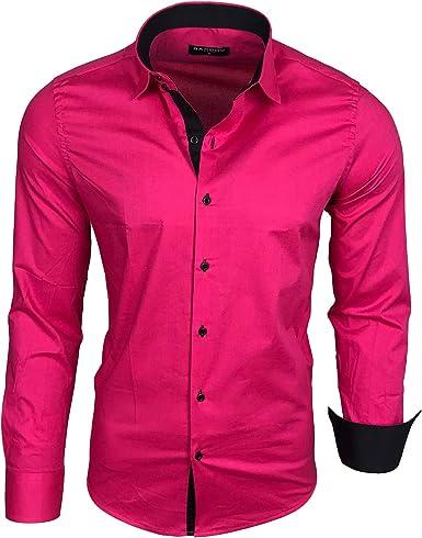 Camisa básica para hombre, para ocio, negocios, traje, manga larga (R-44) rosa XXXL: Amazon.es: Ropa y accesorios