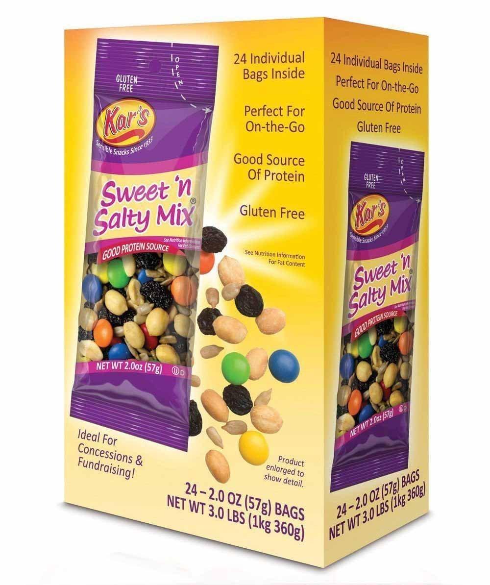 Kar's Sweet 'N Salty Trail Mix - 2 oz Single Serving Bags - Peanuts, Sunflower Kernels, Raisins & Chocolate Gems (24 Pack) (8 Count)
