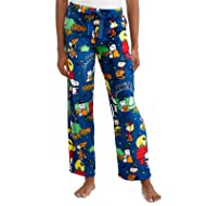 Peanuts Halloween Snoopy Charlie Brown Women's Pajama Minky Fleece Sleep Pants, Blue
