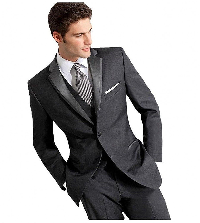 YSMO Men's Dark Gray 2 Button 3-Piece Suit Tuxedo Blazer Jacket Pants Vest Dress Prom YSMO18031404-44R-DG