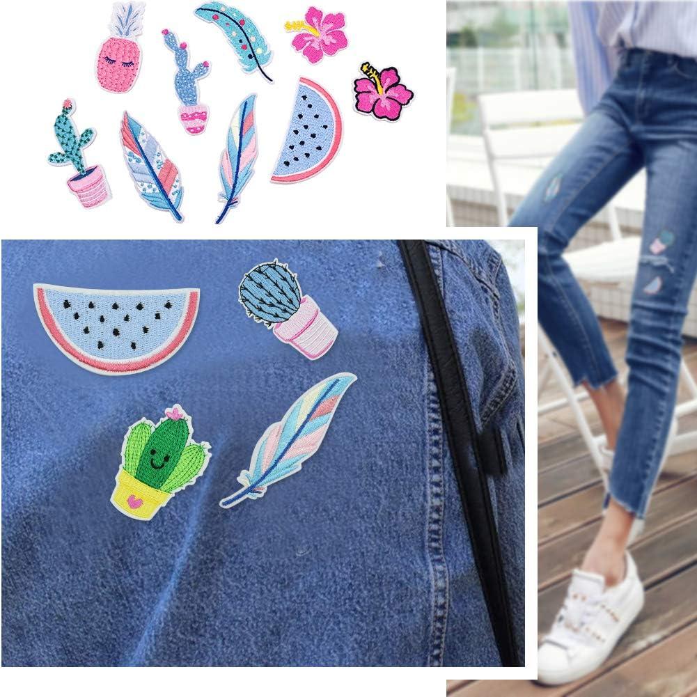Creatividad Pluma y Cactus Parches Decorativos Parche de Ropa para Camiseta Jeans Sombrero Bolsas Irich 18 Piezas Parches Bordados