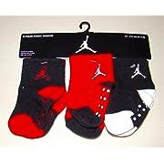 Nike Air Jordan Toddler Baby Socks Non-Slip 3 Pack Size 12-24 Month Black/White/Red