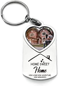 WIEZO-USA New Home New Adventure - Housewarming Picture Frame Keychain Gift - Congrats Home Sweet Home Party - New Home Owners Gift from Real Estate Agent