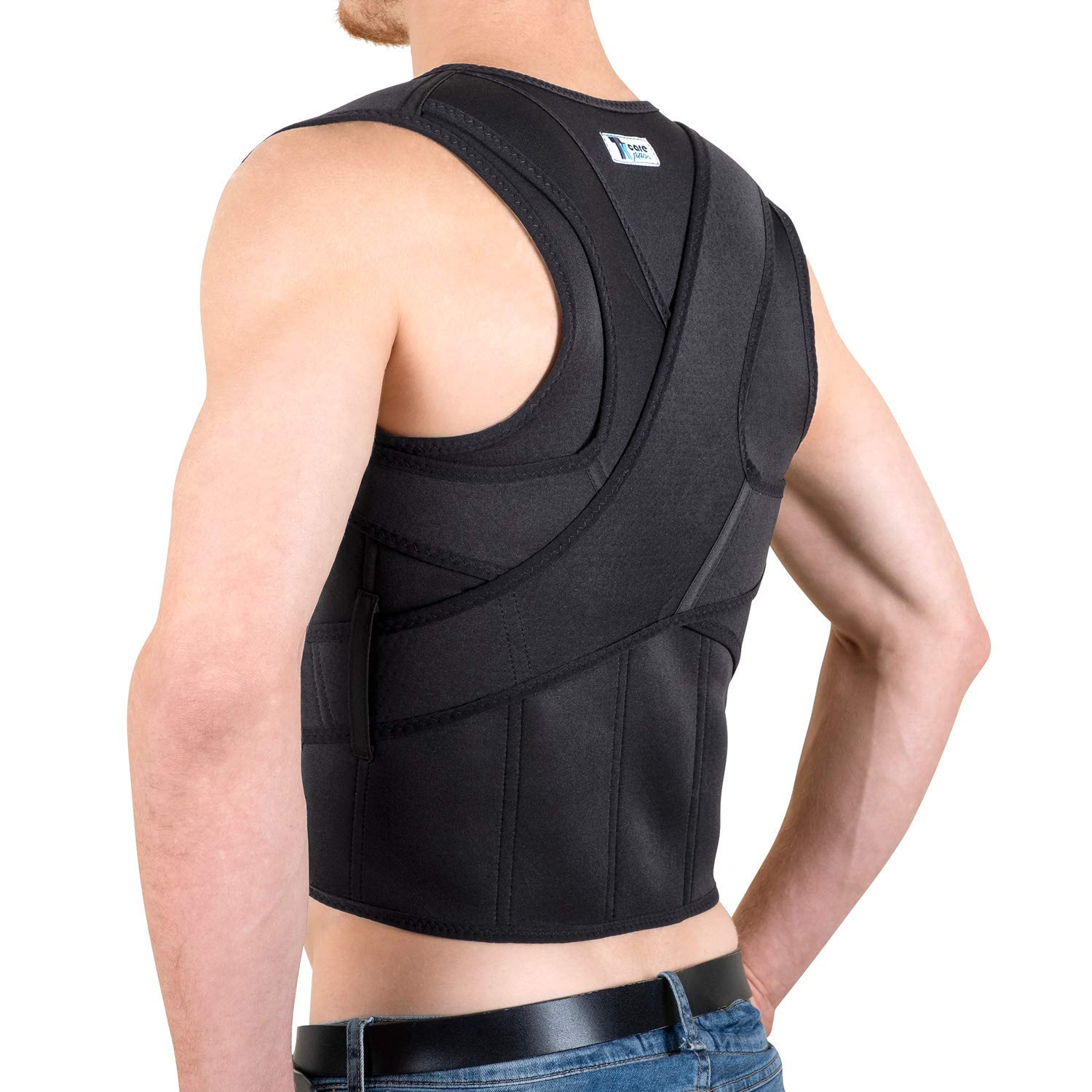 The Ultimate Back Brace Posture Corrector- Best Fully Adjustable Support Brace - Improves Posture and Provides Lumbar Support - for Lower and Upper Back Pain - Men and Women (L (32'' - 38'' Waist)) by TK Care Pro.