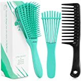 3 Pieces Detangling Brush Comb,Hair Detangler Brush for Black Natural Curly Hair Afro Textured 3/4abc Kinky Wavy Coily Thick