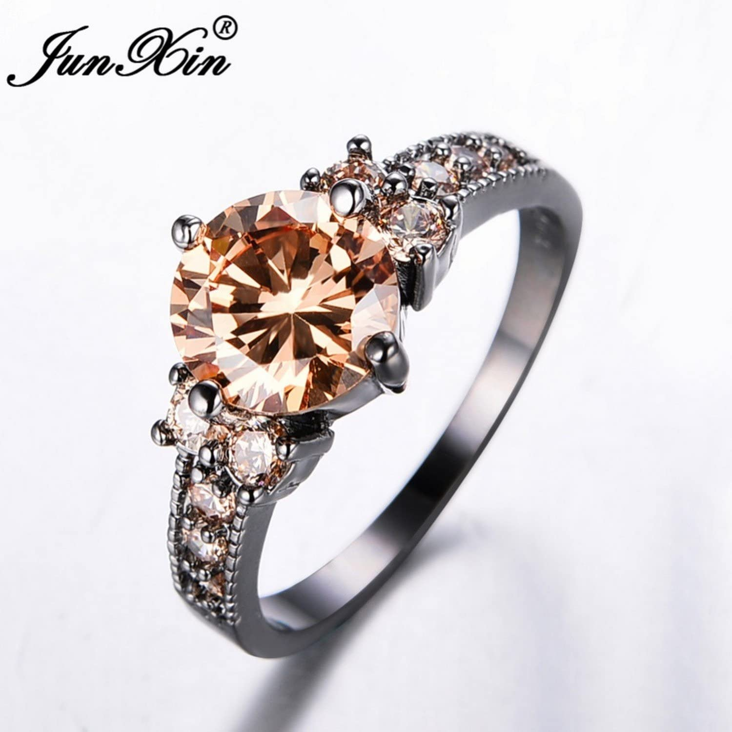 T-Ring Champagne Round Zircon Ring Black Gold Filled Jewelry Ring for Women Wedding Rings