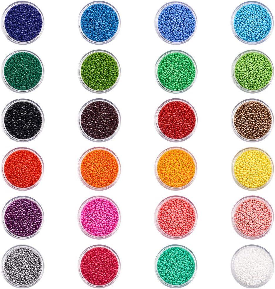 PandaHall Elite - Cuentas redondas de cristal con agujero de 0,3 mm, 384 g, 12/0 2 mm, 24 colores mezclados, espaciador pequeño para pulseras, collares, joyería