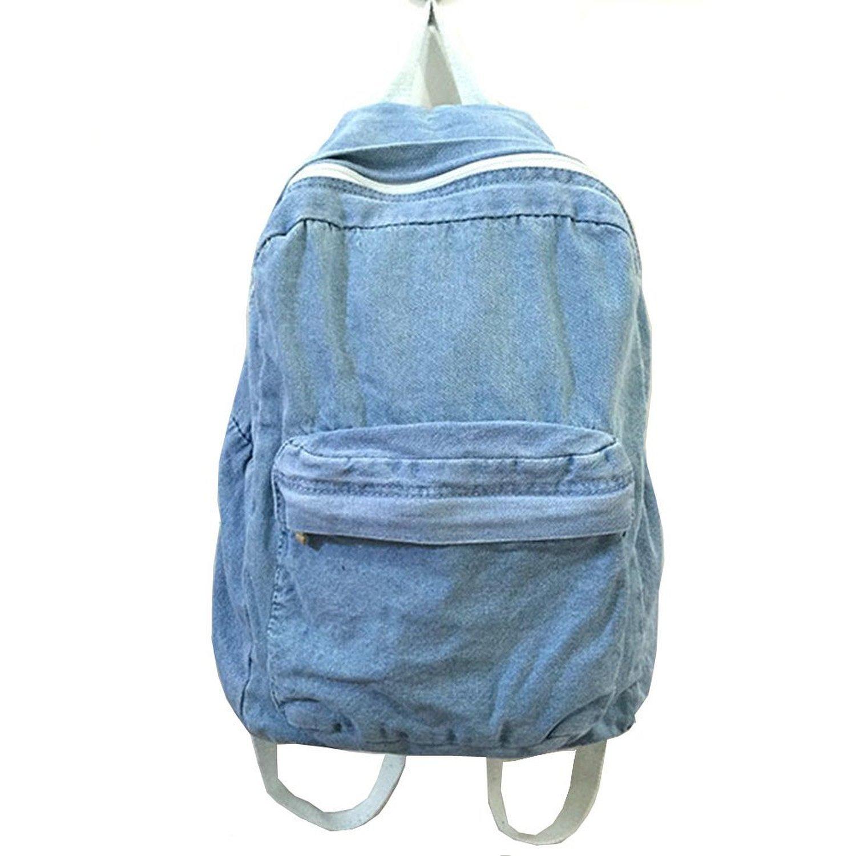 Classic Vintage Denim Bookbags School Bag College Jeans Backpack