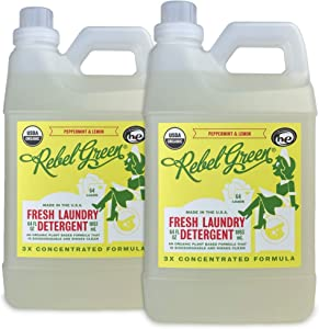 Rebel Green Organic Laundry Detergent, 128 Loads, Hypoallergenic and Natural Liquid Laundry Soap for Sensitive Skin, Peppermint and Lemon