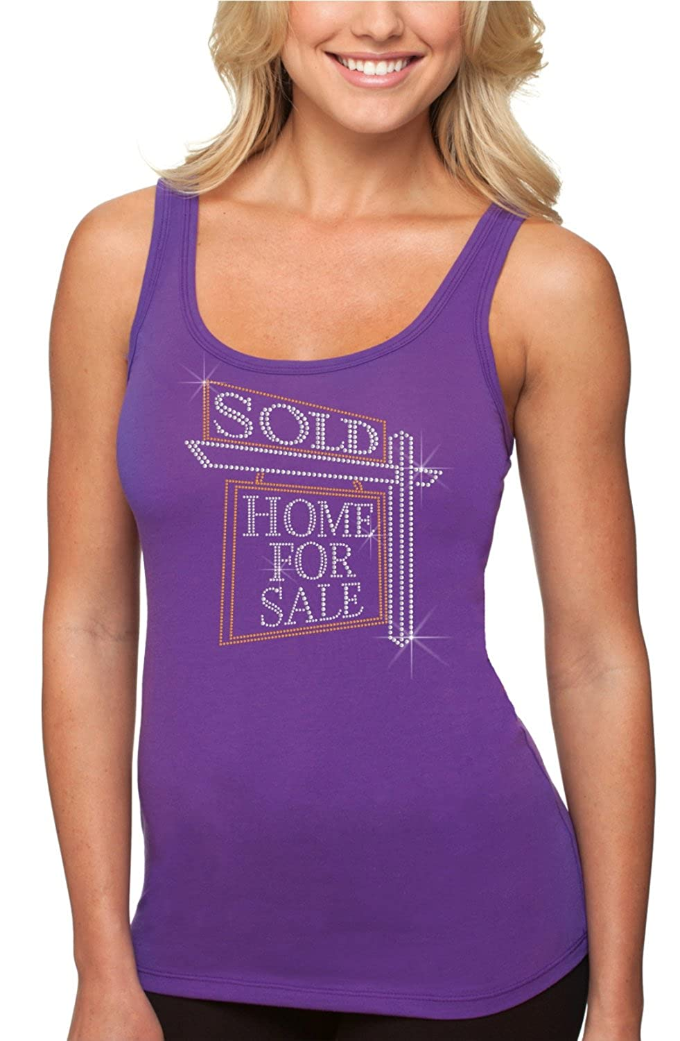 bling rhinestone ''Sold Home For Sale'' Next Level Woman Jersey Tank. Crystal Heat Transfer motif apparel.