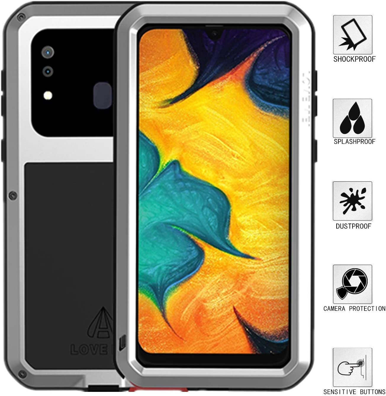 LOVE MEI Compatible for Samsung Galaxy A20/Galaxy A30 Case,Aluminum Metal Gorilla Glass Waterproof Shockproof Military Heavy Duty Sturdy Protector Cover Hard Case for Galaxy A20/Galaxy A30(Silver)