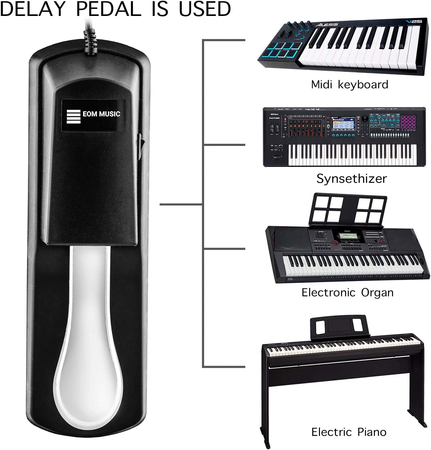 and Digital Piano with Polarity Switch-5 Foot Cable with 1//4Jack EOM MUSIC Universal Keyboard Sustain Pedal with Precision Action for Half Pedal Techniques-Versatile Sustain Pedal for Keyboard Midi
