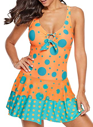 cd3cfa502c Sidefeel Women Polka Dot Print Bow Tie One-Piece Tankini Swimsuit Small  Orange