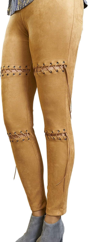 Fashion by Oksana Lace Up Details Stretch Faux Suede Leggings