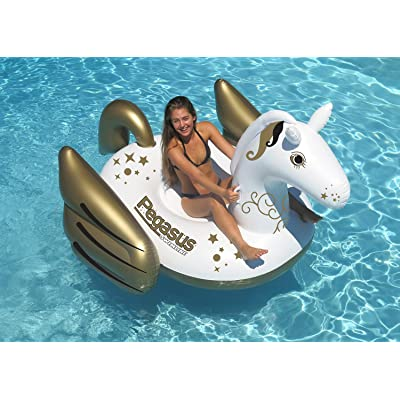 "64"" Inflatable Gold and White Giant Mythical Pegasus Swimming Pool Ride-On Lounge: Sports & Outdoors"
