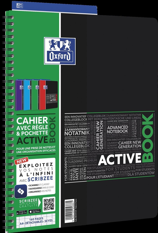 Oxford Schulheft, Polypropylen 5 Activebook + Trennblatt 160 P 90 g 240 x 297 mm kariert