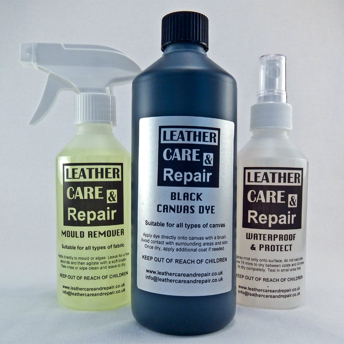 Leather Care & Repair CANVAS HOOD MOULD CLEANER, 500ml DYE/RESTORER & WATERPROOFER KIT