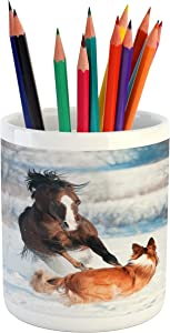 """Lunarable Horse Pencil Pen Holder, Welsh Pony and Border Collie Dog Playing in Winter Snow Covered Field, Ceramic Pencil Pen Holder for Desk Office Accessory, 3.6"""" X 3.2"""", Orange White"""