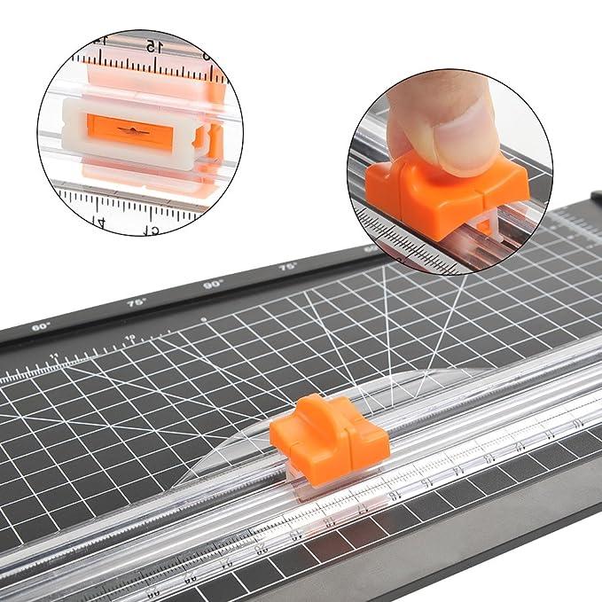 A4 Schneideger/ät mit Fingerschutz und Hilfslinie Fotos und Etiketten 12 Blatt Papier auf einmal schneidbar Passend f/ür Papier ATPWONZ Papierschneider