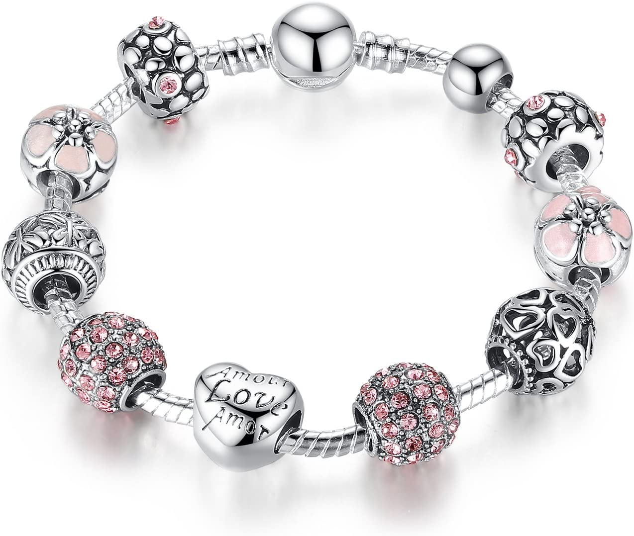 Pandora Element DIY Charm Beads Bracelet Silver Plated Love Fashion Gift