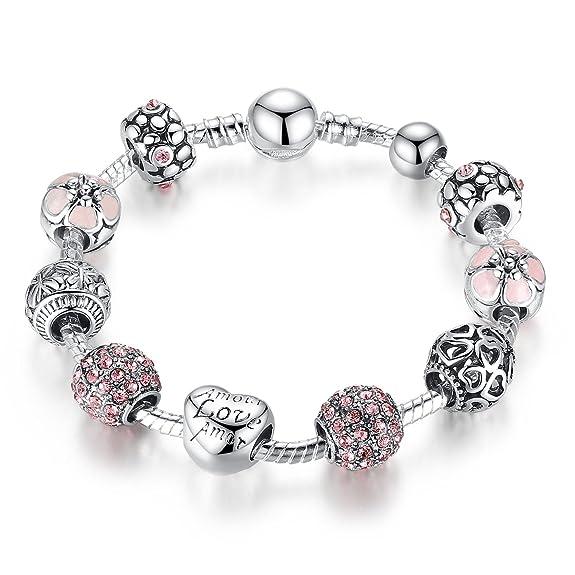 59 opinioni per 925 del braccialetto del braccialetto d'argento placcato fascino con Amore e