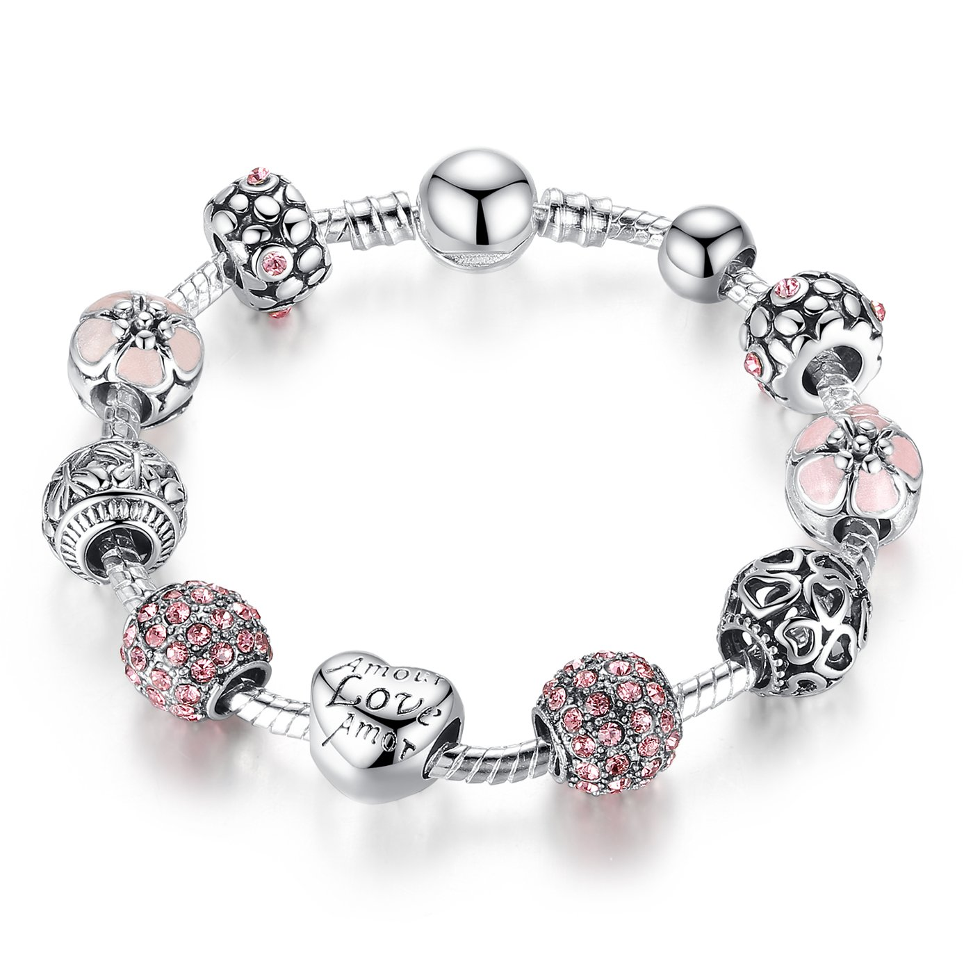 Presentski Love Charm Bracelet for Women and Girls with Pink CZ, Heart, Amour, Amor, Flower, and Butterfly (7.1 Inches)