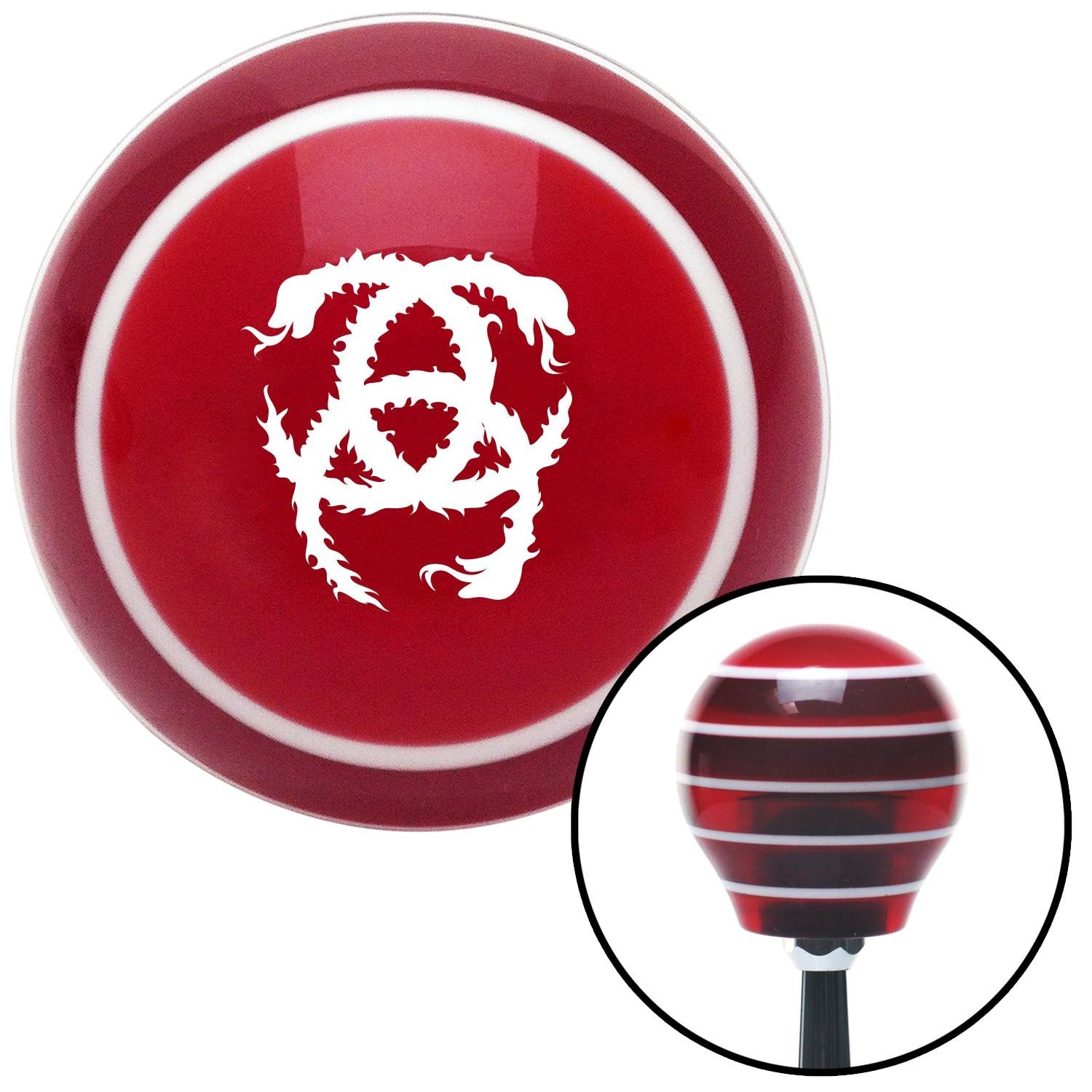 American Shifter 114071 Red Stripe Shift Knob with M16 x 1.5 Insert White Heraldic Snakes