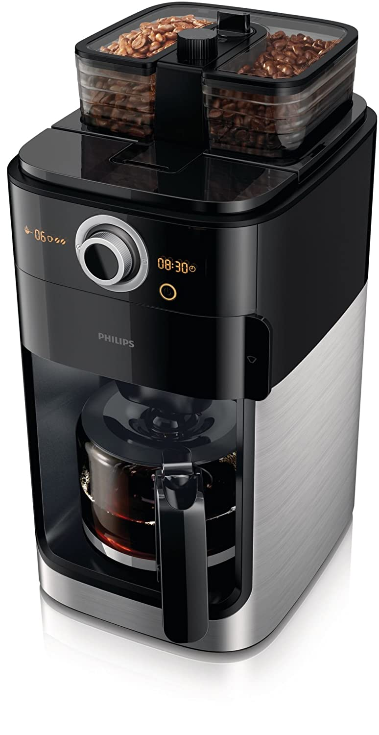 Philips HD7762/00 Coffee Maker with Glass Jug Grind and Brew System, 1.2 Litre, 1000 Watt - Black Metal